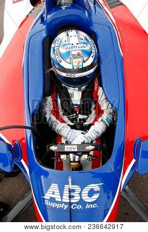 April 06, 2018 - Avondale, Arizona, USA: Tony Kanaan (14) hangs out on pit road during qualifying for the Desert Diamond West Valley Casino Phoenix Grand Prix at ISM Raceway in Avondale, Arizona.