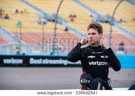 April 06, 2018 - Avondale, Arizona, USA: Will Power (12) waits to qualify for the Desert Diamond West Valley Casino Phoenix Grand Prix at ISM Raceway in Avondale, Arizona.