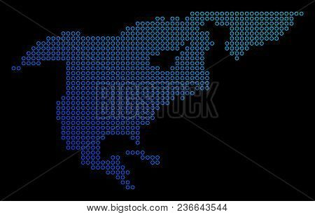 Round Dot North America Map. Vector Geographic Map In Blue Gradient Colors On A Black Background. Ve