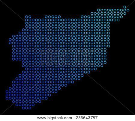 Round Dot Syria Map. Vector Geographic Map In Blue Gradient Colors On A Black Background. Vector Com