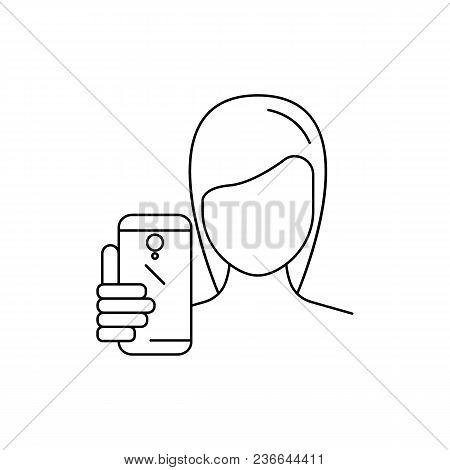 Girl Make Selfie. Outline Girl Make Selfie Vector Illustration For Web Design Isolated On White Back