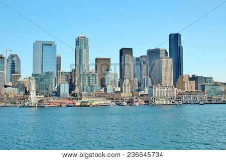 Seattle, Washington Waterfront And City Skyline Views