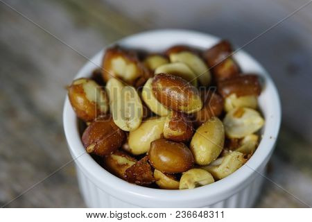 Close Up Of Beer Nuts In A White Bowl