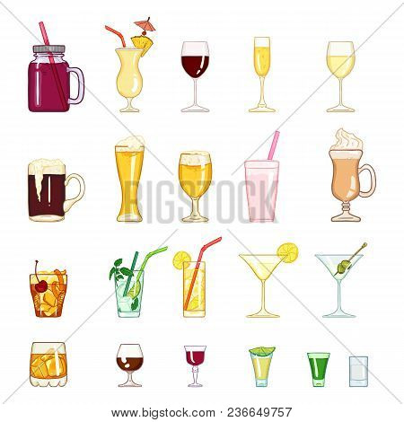 Vector Cartoon Set Of Alcohol, Soft Drinks And Cocktails.
