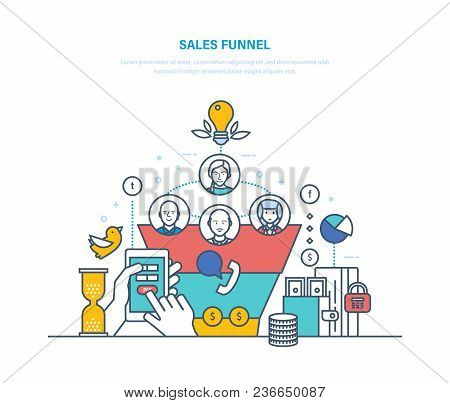 Sales Funnel, Conversion. Business Tool Of Entrepreneur, Schedule Of Customer Distribution By Stages