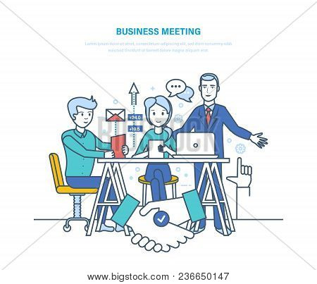 Business Meeting. Corporate Partnership Meeting, Cooperation Negotiations. Discussion Of Business St