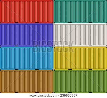 Cargo Shipping Containers For Freight Transport And Logistics. Freight Shipping, Stacked Cargo Conta