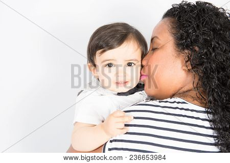 American African Mother Kiss Child Boy Son Mixed Race With Love