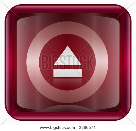 Eject Icon, Red, Isolated On White Background