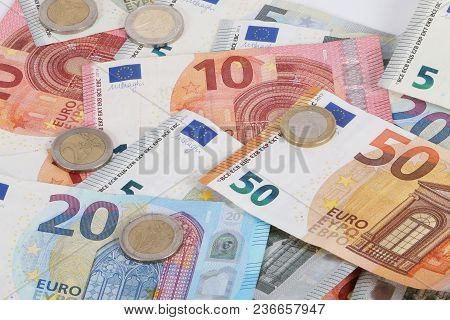 A Heap Of Different Euros Are Lying In The Studio