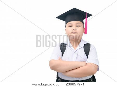 Smart Asian Boy Student With Graduate Cap Isolated On White Background, Education Concept