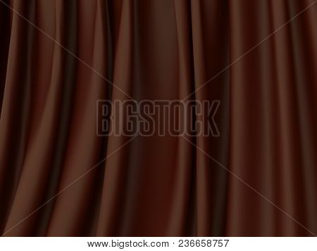 Abstract Dark Chocolate Background. Beautiful Satin Fabric For Drapery Abstract Background. Brown Si