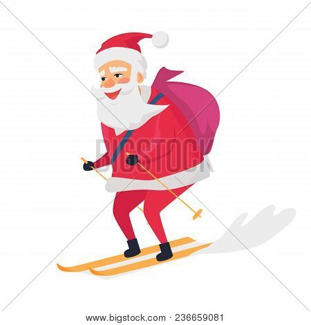 Skiing Happy Santa Claus On White Background. Vector Illustration Of Man With Bag On His Back Who We