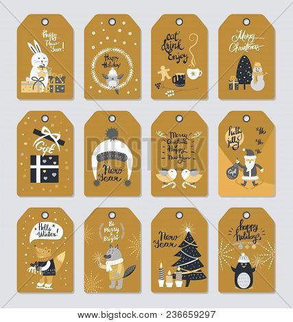 Merry Christmas Colourful Label Poster With Wishes In Vintage Style. Collection Of New Year Hand Dra