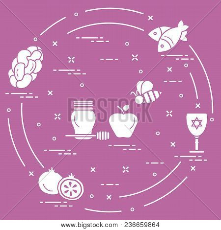 Jewish Traditional Treats And Symbols. Design For Postcard, Banner, Poster Or Print.