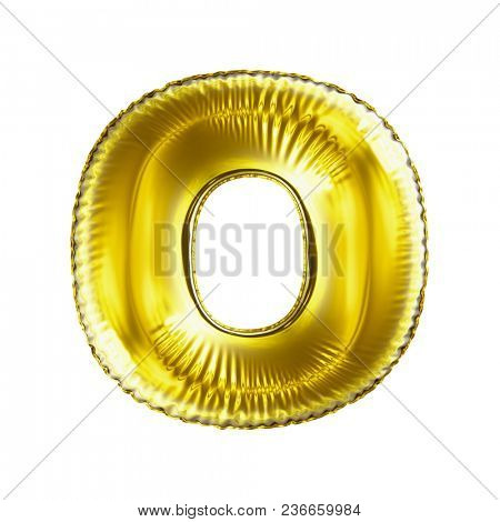 Golden letter O made of inflatable balloon isolated on white background. 3d rendering
