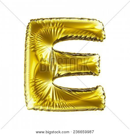 Golden letter E made of inflatable balloon isolated on white background. 3d rendering