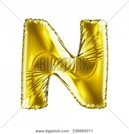 Golden letter N made of inflatable balloon isolated on white background. 3d rendering