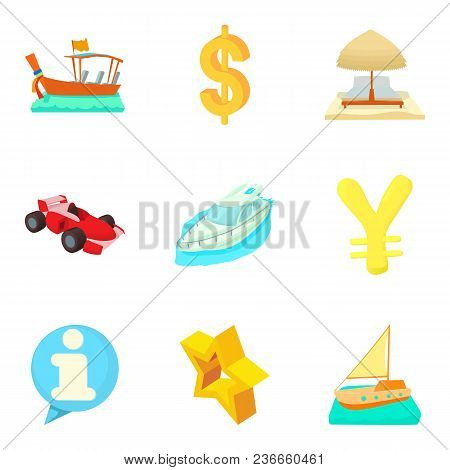 Monetary Opportunity Icons Set. Cartoon Set Of 9 Monetary Opportunity Vector Icons For Web Isolated