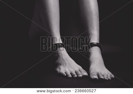 Concept Of Human Trafficking On A Dark Background