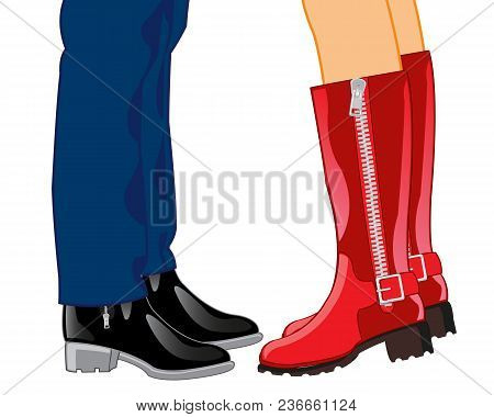 Male And Feminine Legs In Footwear On White Background