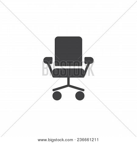 Office Chair Vector Icon. Filled Flat Sign For Mobile Concept And Web Design. Ergonomic Armchair Sim