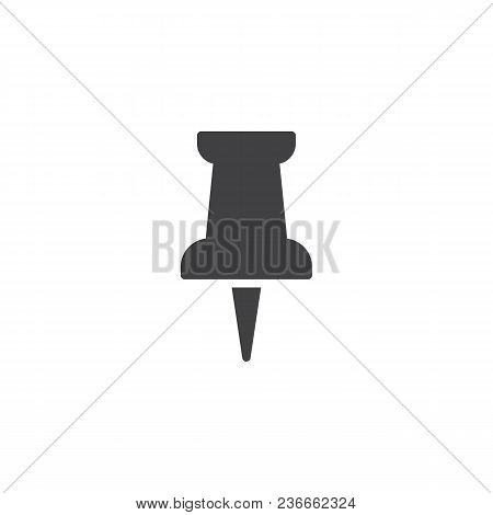 Paper Push Pin Vector Icon. Filled Flat Sign For Mobile Concept And Web Design. Thumbtack Simple Sol