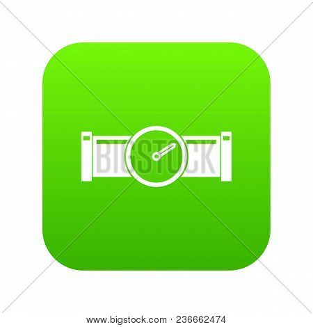Instrument Measures The Pressure In The Pipe Icon Digital Green For Any Design Isolated On White Vec