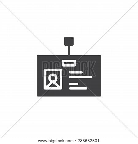 Office Badge Vector Icon. Filled Flat Sign For Mobile Concept And Web Design. Id Card Simple Solid I