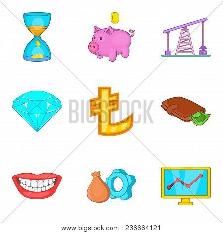 Cheap Money Icons Set. Cartoon Set Of 9 Cheap Money Vector Icons For Web Isolated On White Backgroun