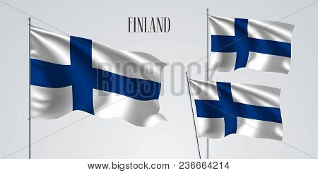 Finland Waving Flag Set Of Vector Illustration. White Blue Colors Of Finland Wavy Realistic Flag As