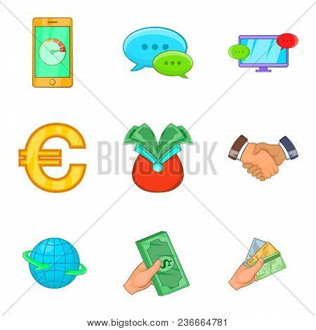Cheap Credit Icons Set. Cartoon Set Of 9 Cheap Credit Vector Icons For Web Isolated On White Backgro