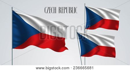Czech Republic Waving Flag Set Of Vector Illustration. White Red Colors Of Czech Wavy Realistic Flag