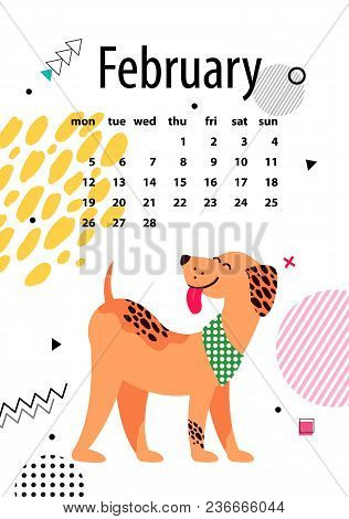 February Page Of Calendar With Cute Dog In Colorful Collar On White Background. Vector Illustration