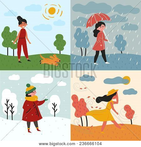 A Girl In All Four Seasons And Weather. Windy For Autumn, Snowy Winter, Rainy For Spring And Sunny I