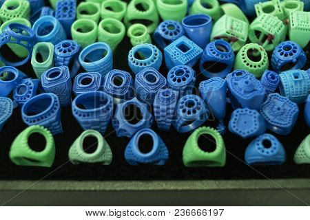 Mold For Making Ring Jewelry. Green And Blue Mold From Wax For Ring Industrial. Tools For Jewelry Fa