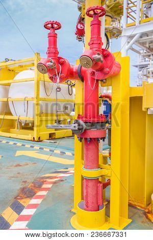 Fire Hydrant, Hose Connection, Firefighting Equipment For Fire Fighter In Oil And Gas Platform.