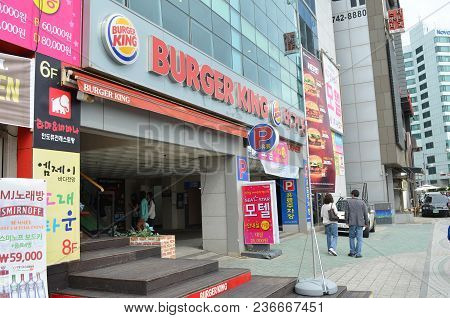 This Image Of A Burger King Was Captured On October 5, 2013 In Busan, South Korea