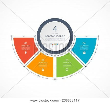 Infographic Semi Circle In Thin Line Flat Style. Business Presentation Template With 4 Options, Part