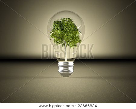 Light bulb and green tree