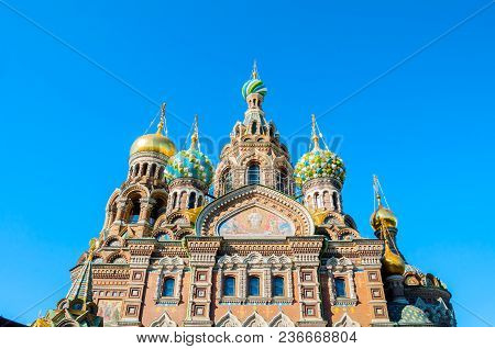 Cathedral Of Our Savior On Spilled Blood In St Petersburg, Russia - Closeup Facade Scene. Architectu