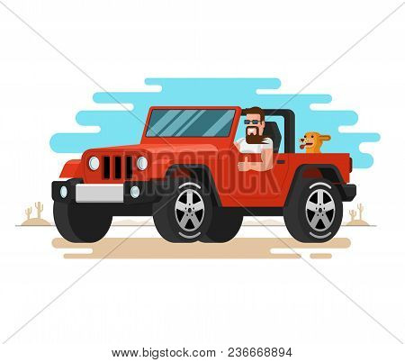 The Man Driving The Off-road Car. Flat Style Car Travel, Trip, Journey Concept. Vector Illustration