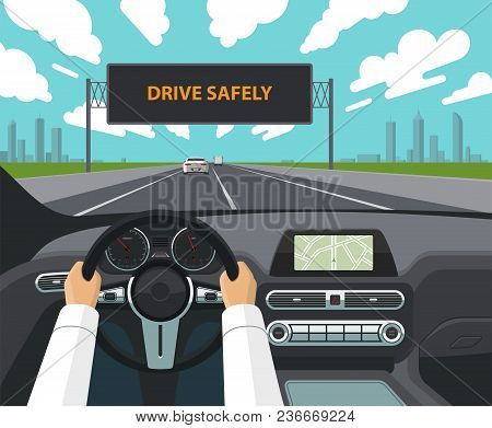 Drive Safely Concept. The Driver's Hands On The Steering Wheel, The Dashboard, The Car Interior, The