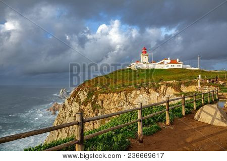 Wide Angle View Of Cabo Da Roca Over The Cliffs, Portugal. The Most Westerly Point Of The European M