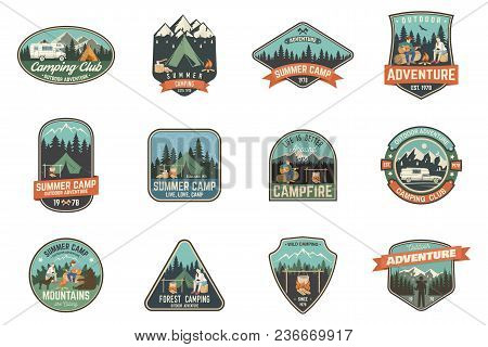 Set Of Summer Camp Badges. Vector. Concept For Shirt , Print, Stamp, Travel Badges Or Tee. Vintage T