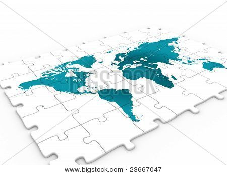 World Map On Puzzle