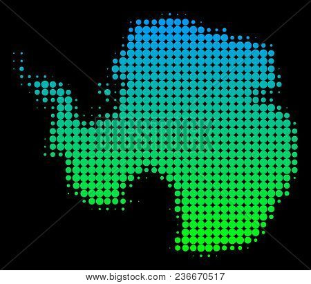 Halftone Round Blot Antarctica Map. Vector Geographic Map In Green-blue Gradient Colors On A Black B