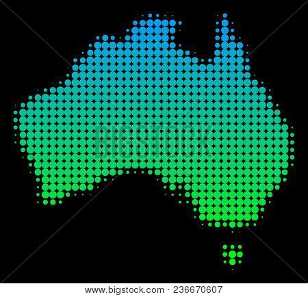 Halftone Round Blot Australia Map. Vector Territorial Map In Green-blue Gradient Colors On A Black B