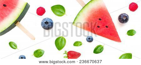 Watermelon  Popsicle  Pattern. Sliced Watermelon  And Berries   Isolated On White Background. Flat L