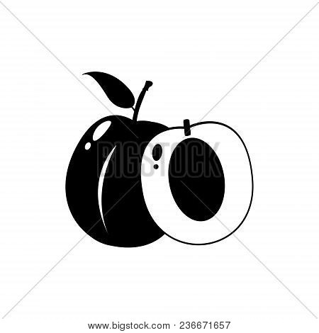 Fresh Plum Isolated On A White Background. Black Half And Whole Plum With A Leaf. Perfect For Juice